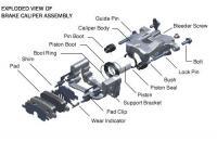 Brake caliper components.