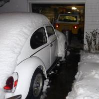 VW Beetle in the snow