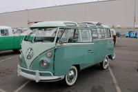 Restored Turquoise 23-Window Deluxe Microbus