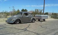 my 62 beetle towing my heilite tent trailer.