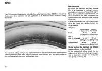 VW van owners manual tire page, 1972