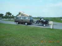 Vanagon pulling sidecar bike