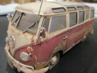 plastic model with faux rust, dents, grime & patina