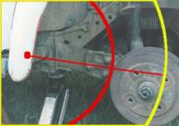 Arc of spring plate as opposed to arc of spring plate with trailing arm attached