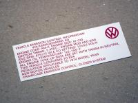 Emissions sticker/decal for 1974 Thing