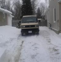Van in the winter