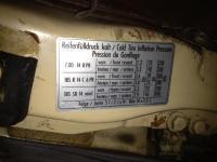1982 Vanagon Tire Inflation Sticker
