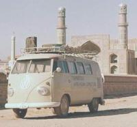 Cambridge Afro-Asian Expedition van in front of mosque