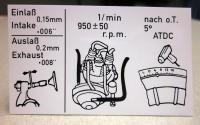 Tune-up information sticker for Type 4 engine