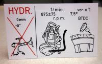 Tune-up information sticker for Type 4 engine (Hydraulic)