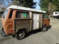 VW Westy with wood panel and wood shingles