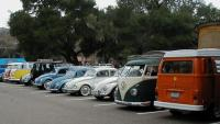 Line-up of cars at the park
