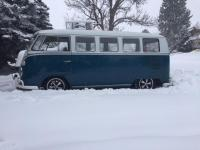 66 Sea Blue Deluxe in the snow