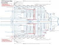 Karmann Ghia chassis and floor pan measured drawing (Metric) v1.3
