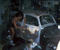 E-Girl sanding my car getting her ready for paint