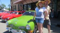 Dadacheese & Kathy with Kathy's 1971 Willow Green Karmann Ghia