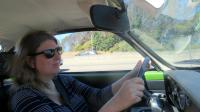 Kathy in her '71 Ghia on the way to the open house event.