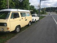 Type1 Towed to the shop by my Vannagon Camper van