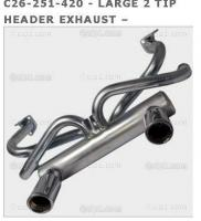 C26-251-420 - LARGE 2 TIP HEADER EXHAUST – GALVANIZED WITH CHROME TIPS