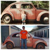 Same kid, same car, 22 years apart . . .