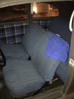 blue tweed interior with plaid door panels