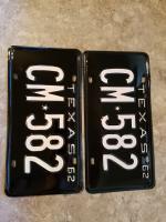 Restored 62 Texas plates