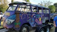 deluxe bus, hippy paint