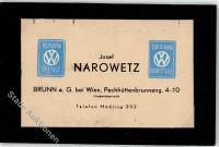 Service card, Josef Narowetz, Brunn am Gebirge.