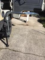 Outdoor vanagon table mount using DJ clamps