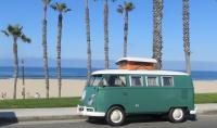 Meeting of two 1967 Westfalias, Huntington Beach, CA
