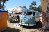 Turquoise Bus camping