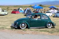 Slammed Green Beetle cruising