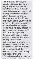 Scammer text regarding Samba donation / classified ad fee