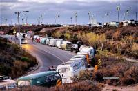 Early morning line-up for VW Van Day, San Onofre