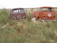 Single cabs sitting in a field