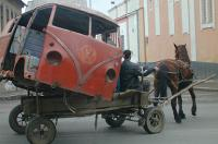 Bus on horse cart