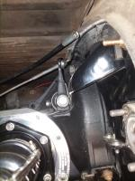Clutch arm and left side of transaxle