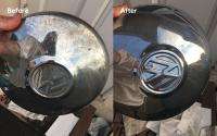 Chrome hubcap rust removal / polishing, before and after