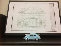 Beetle 1950's working drawing and scale model