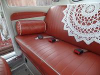 Custom hand-made leather pillows for the rear seat.