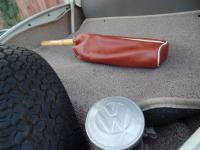 Custom hand-made leather bag for car duster.