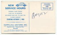 1963 Harry Hill Motors Service Hours postcard - West Covina, CA
