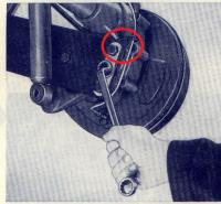 rear brake line bracket from May 1959
