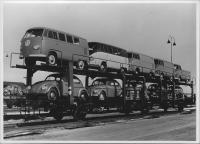 1955 Train car of VW Buses and Oval Window Beetles