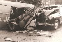 Barndoor crash scene