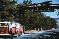 23 Window Deluxe Microbus RHD BG SWR Trailer Hitch Great Ocean Road Victoria Australia Vintage Photo