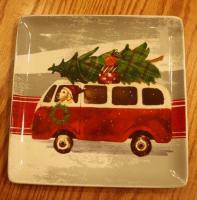 Christmas plate and mug with dog driving VW Bus
