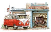 aquarel of VW spijlbus en splitwindow