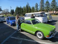 Kathy and her 1971 Ghia amongst friends on a Sunday VW cruise.