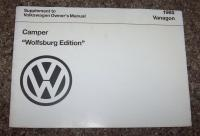 Owner's Manual Supplement - 1985 Vanagon Camper Wolfsburg Edition""